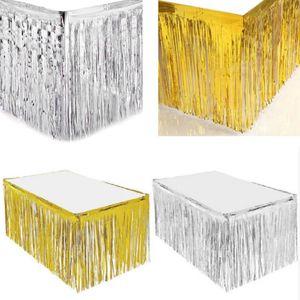 Festa de casamento Metallic Fringe Table Skirt Foil Tinsel Tassel Tabela Curtain Wall