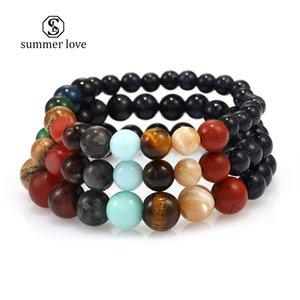 Univers plus récent Huit planètes Bracelet perles naturelles pierre système Galaxy solaire main Chakra élastique Bracelet Femme Homme Bijoux Designer
