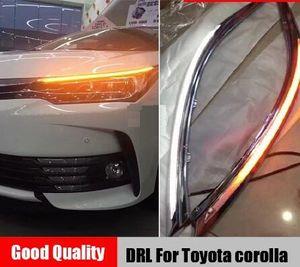 Toyota corolla için 2014 2019 LED DRL Far Kaş Gündüz Akan dinamik Sarı Hafta Sinyal ile Işık sis lambası Koşu