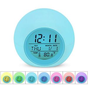 LED Будильник Light Студенческого цифровых часы термометр 7 цветов Изменение Light Night светящейся Прикроватная Часы для детей Спальни Таблицы Desktop