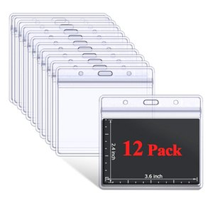 20 Pcs Waterproof Clear Plastic Horizontal  Vertical ID Card Badge Holders