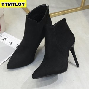 New Women High Heel Booties Large Fashion Female High-Heeled Boots Young Ladies 10 cm Ankle Boots Winter Zapatos De Mujer c22