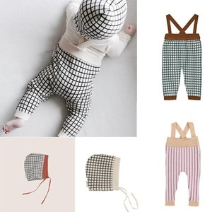 New Autumn Toddler Overalls Baby Suspender Pants Stripe Knitting Baby Boy Overalls Pink Brown Girl Cute Overalls Pants For Kids Y200704