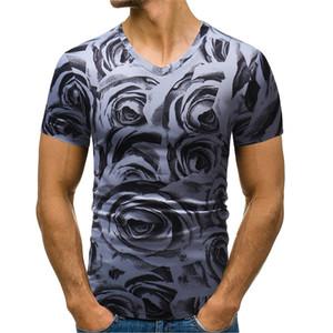 Floral Print Designer Hommes T-shirts d'été Casual Slim manches courtes col en V Pull T-shirts Mode Hommes Casual T-shirts