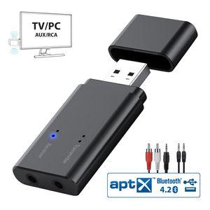 Bluetooth 4.2 trasmettitore e ricevitore, 2 in adattatore audio senza fili 1 USB con 3.5mm Aux Porta per TV, PC, auto, cuffie, sistema home audio