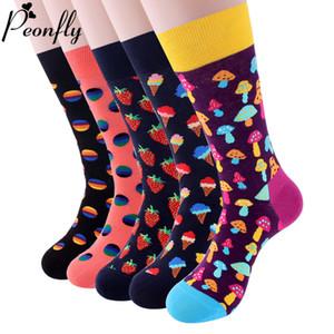 Casual Skate Harajuku Meias PEONFLY colorida Homens de algodão Socks engraçado Mushroom morango Geometric Calcetines felizes