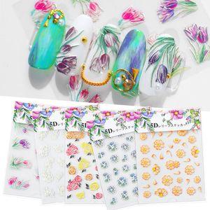 NEW 5D Geprägte Nagel-Aufkleber Blumen-Schmetterlings-Blatt-Muster Explosion Gravierte-Nagel-Kunst-Aufkleber-Abziehbilder Dekorationen
