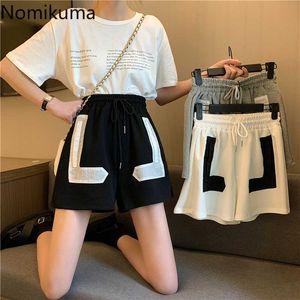 Las mujeres Nomikuma verano coreano causal pantalones cortos de encaje Estiramiento de cintura alta Apliques Bottoms 2020 Nueva pierna ancha corto Feminimos 6A552