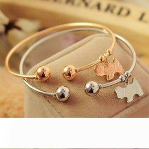Charm Bracelets Women Fashion Jewelry Bangles Cuff Bracelet Charming Cute Pully Pendant Gold Silver Alloy Little Dog Bangles bracelet jonc