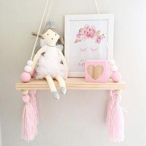 Ins estilo nórdico macarons de madera maciza de madera perla estante de madera contrachapada sala de muñecas de almacenamiento estante de exhibición dormitorio pared decorativa Q190531