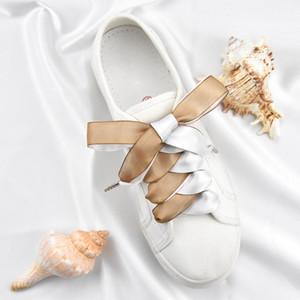 1pair en satin de soie Ruban Lacets Femmes Chaussures Lacet Lacets double face Largeur neige fil 2cm 80/100 / 120cm