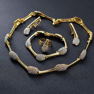 Sunny Jewelry Women Bridal Jewelry Set Dubai Wedding Cubic Zirconia Bowknot Heart Necklace Earrings Ring Bracelet Ethnic Jewelry