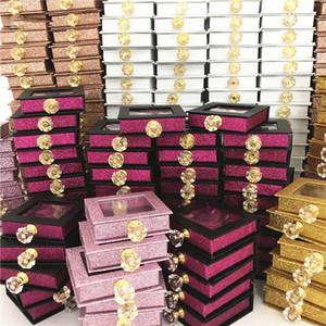 10pcs Cristal Handle 25mm cílios postiços embalagem caixa Lash Caixas Falso 3D Mink Lashes Glitter Caso Faux Cils caixa vazia