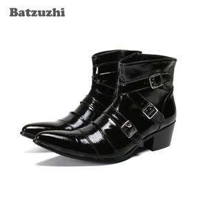 Batzuzhi Western Cowboy Мужские сапоги Toe Остроконечные Черная мягкая кожа Ботильоны Мужчины Пряжки Мотоцикл Мужской Boots Botas Hombre