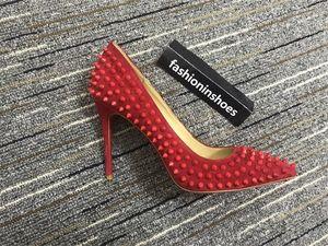 роскошь шипованная красный дно острым носом Насосы пола красной подошвой высокие каблуки шипами свадебные туфли 35-42 обычай 8см 10см 12см замшевые платья партии обуви