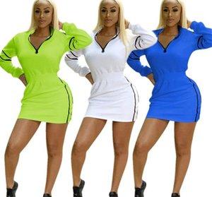 2019 Designer-Frauen-Kleider beiläufige heiße Art reizvolle dünner Normallack Langärmlig Stehen Neck Bodycon Kleider Damenmode Kleidung