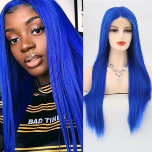 Blue Color Wig for Women Synthetic Hair Lace Front Wigs Straight Long Hair Heat Resistant Fiber Cosplay Party Halloweenw Igs