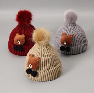 2019 новая мода медведь casquette шапочка капот вязаные шапочки симпатичные Зимняя шляпа для детей дети мода skullies теплая шляпа мальчиков девочек дешевые