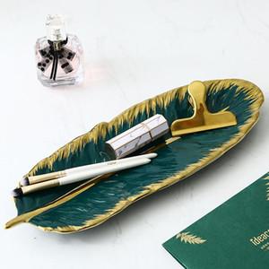 La forma de hoja de plátano verde placa de cerámica de porcelana Oro cargador Aperitivo placa de postre joyería plato de vajilla Vajilla Sushi