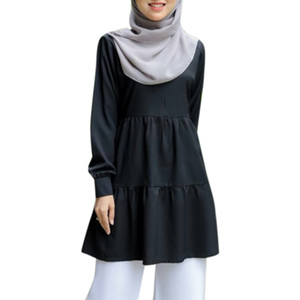Muslim Fashion Tops Women Casual Top for Musliman 2020 New Solid Color Black White Long Sleeve Shirts