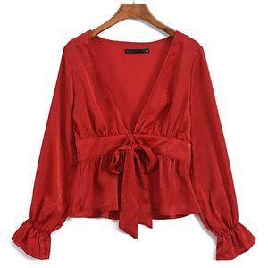 Camisa de encaje de manga larga con cuello en V y falda de satén para mujer de Europa y los Estados Unidos, ropa de mujer, negro rojo