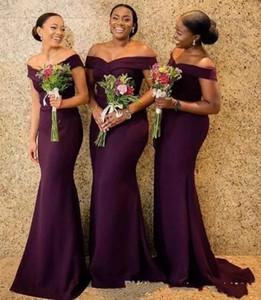 Grape Satin-Nixe-Brautjungfernkleider Saudi African weg von der Schulter afrikanischen Mädchen der Honer Kleid Zurück Reißverschluss Hochzeit Gastkleider Günstige