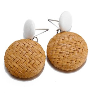Papier Boucles d'oreilles en paille tressée Article Weave Nation Wind Round Ear Nail Woman