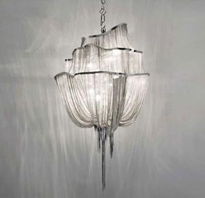 Cadeia pano Art luminária Talha Entrada Stair lâmpada Projeto de Engenharia Cadeia de luxo Tassel alumínio Cadeia Lâmpadas Pingente Indoor