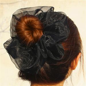 Bahar Yeni Bayanlar Süper Renkli Yumuşak tül Saç toka Oversize Halat Geniş Bant Diaphanous Katı at kuyruğu Vintage Saç Gums