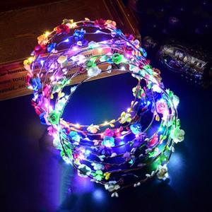 Parpadear regalos de la flor de boda partido de la luz artificial LED Garland pelo luminoso de la guirnalda WY461Q joyería para niños de 7 colores