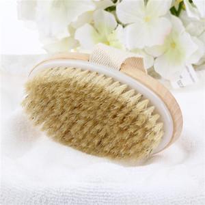 Piel de madera oval cepillo de baño seco Cuerpo Natural Health cerda suave del masaje del baño de ducha cepillo de cerdas SPA cepillo del cuerpo sin mango