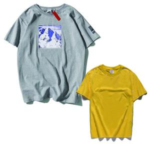 20s Verão Camiseta com letra de neve de montanha dos homens Tops roupa do pescoço de grupo Casual Mulheres de manga curta M-XXL 118042102