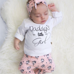 Newborn Toddler Baby Girls Clothes Outfits Set Long Sleeve Daddy's little Girl T-shirt +Pants+Headband 3Pcs Infant Clothing