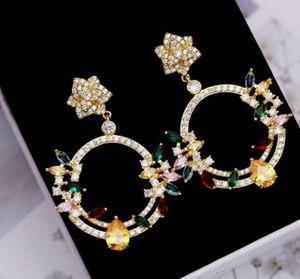 2pairs / lots chaming Kristall-Diamant-Hochzeit birde Dame Kreis earings up-market 3.4 # 4.8jcm 21RR