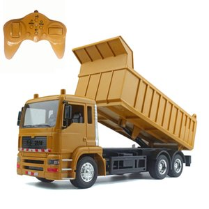 RC cars dump truck Toys for children boys Xmas birthday gifts yellow color RC Engineering truck model Beach toys transporter MX200414