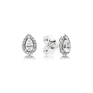 CZ Aretes de diamantes para mujer Joyería de lujo con caja para Pandora 925 Pendiente de la boda de plata de ley Tear drop Set