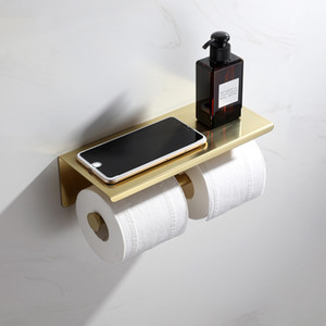 Double Anneau Porte-papier grand chapiteau Chrome étagère noir or brossé en acier inoxydable toilettes Rouleau Titulaire