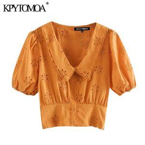 KPYTOMOA Donne 2020 Camicie scava fuori ricamo ritagliata camicette Vintage risvolto Collare manica corta femminili Chic