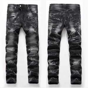Mens erbleichte Falten Panelled Jeans-Modedesigner-Weinlese-Straight Leg Slim Fit Motorrad Zerkratzt Biker Denim-Hosen-Jeans JB35