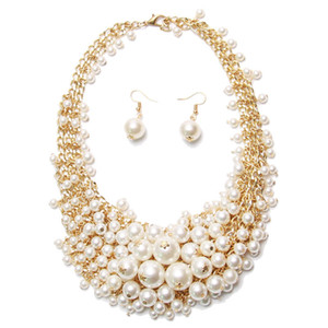 European and American exaggerated pearl necklace female bride dinner party matchs adorn article necklace Free shipping