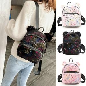 Women Baby Girls Stars Sequins Plush Mini Backpack Girls School Bags Small Travel Handbag Shoulder Bag Rucksack Bookbag