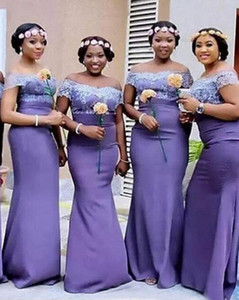 Plus Size African Nigerian Bridesmaid Dresses Lavender Wedding Guest Gowns Satin Mermaid Long Off Shoulder Lace Maid Of Honor Dresses