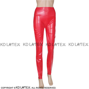 Red Sexy Latex Leggings Fetish Bondage Rubber Pants Jeans Trousers Bottoms Plus Size Hot Sales 0004