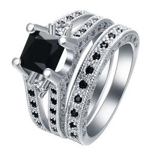 X-Jue جديد الموضة 2 قطع خاتم مجموعة فضية اللون معبأ أسود زركون أنيقة مزاجه زفاف خطوبة مجوهرات خاتم
