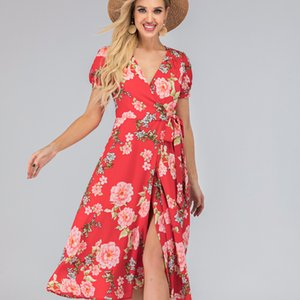 Dress Girls Long Dresses Fresh and Sweet Polyester Split Mid Waist Flower Natural Color V Neck Large Swing Dresses Short Sleeves