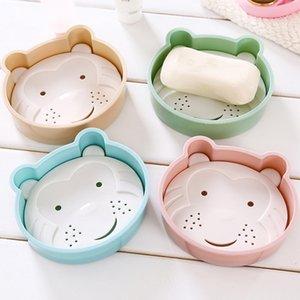 10 Кусочки мультфильм Медведь Двойной Drain Soap Box Творческий Главная животных Мыло Box ванной комнаты ванной комнаты Пластиковые Box Sinks