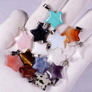 Naturstein fünfzackigen Stern-Anhänger-Charme Modeschmuck Halskette Ohrringe, die Entdeckungen Großhandel MKI Marke