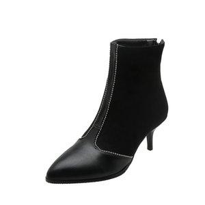 Neuschnee Super große Größe 32-48 New Round Toe Med Winterstiefel Frauen-beiläufige Erhöhte interne Ferse 6CM Mode warme Schuhe 66-2