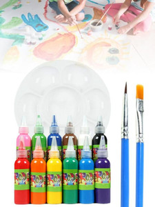 Washable Paint 60ML 12 Color Washable Paint Easy-squeeze Bottles Water Non-toxic Finger For Kids DIY Creation