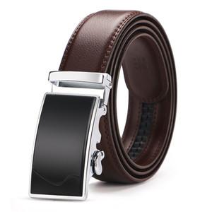 140 150cm Big Size Automatische Schnalle Gürtel für Männer Qualitäts-Männer echtes Leder Geschäft Gürtel Marke Designer Luxury Brown T200615